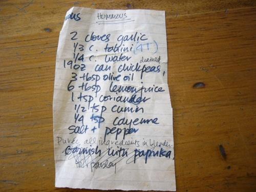 Ancient artifact hummus recipe, circa 1978