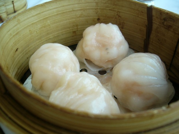 Plump har gow (shrimp dumplings) with delicate, translucent wrappings.