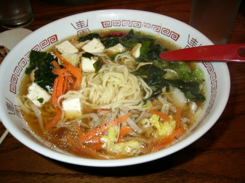 Ramen from Konnichewa in Toronto, where the noodles are lovely, but the broth is not.
