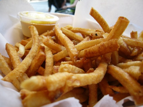 Fries with saffron aioli at Taim