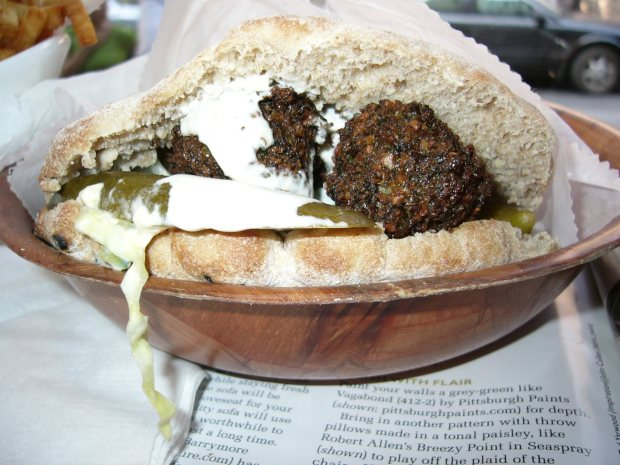 Green falafel sandwich at Taim