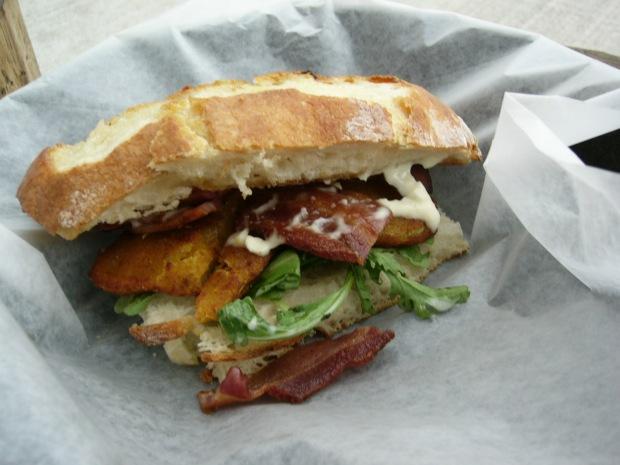 BAT (Bacon, Arugula, Fried Green Tomato) Sandwich