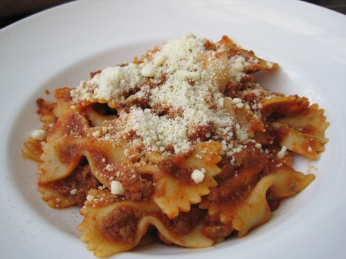 Farfalle Bolognese at Black Skirt
