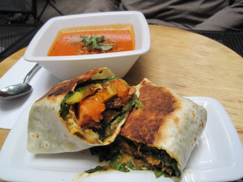 Curried lamb wrap and roasted red pepper bisque