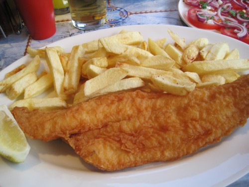 Haddock and chips in matzo meal batter